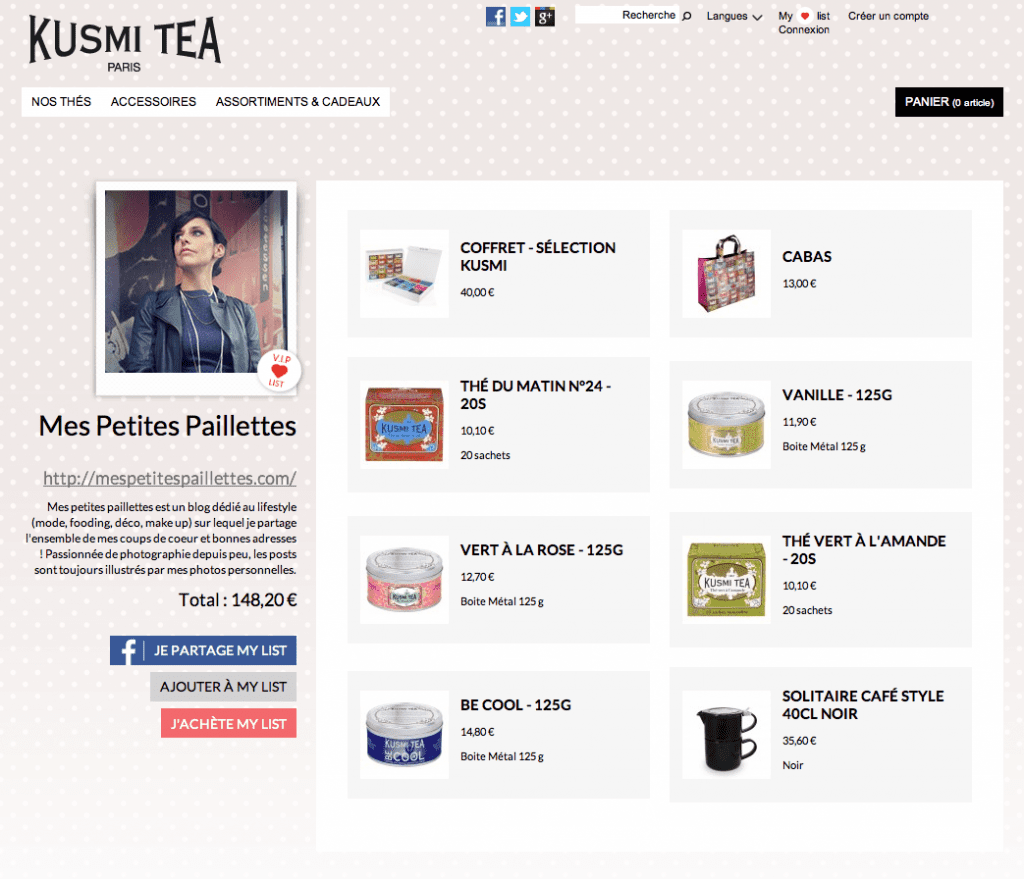 My VIP list Mes petites paillettes Kusmi Tea